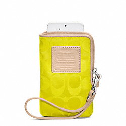 COACH LEGACY WEEKEND NYLON NORTH/SOUTH UNIVERSAL CASE - SILVER/NEON YELLOW - F65836