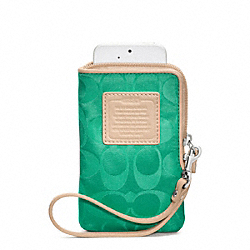 COACH LEGACY WEEKEND NYLON NORTH/SOUTH UNIVERSAL CASE - SILVER/JADE - F65836