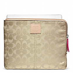 LEGACY WEEKEND NYLON L-ZIP IPAD SLEEVE - SILVER/KHAKI - COACH F65856