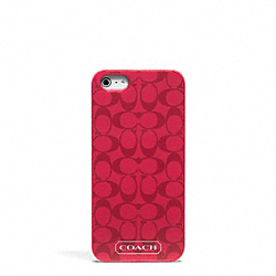 COACH EMBOSSED LIQUID GLOSS IPHONE 5 CASE - BRASS/CORAL RED - F65899