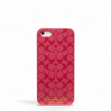 COACH EMBOSSED LIQUID GLOSS IPHONE 5 CASE - CORAL - f65899
