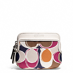 PARK HAND DRAWN SCARF PRINT DOUBLE ZIP COIN WALLET COACH F65936