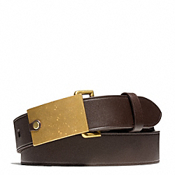 COACH PHILIP CRANGI PLAQUE BUCKLE BELT - CHESTNUT - F65962