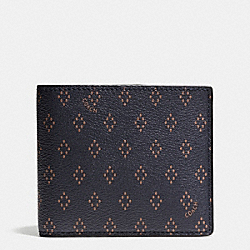 COACH DOUBLE BILLFOLD WALLET IN FOULARD PRINT COATED CANVAS - DIAMOND FOULARD - F65971