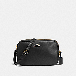 CROSSBODY POUCH IN PEBBLE LEATHER - f65988 - IMITATION GOLD/BLACK