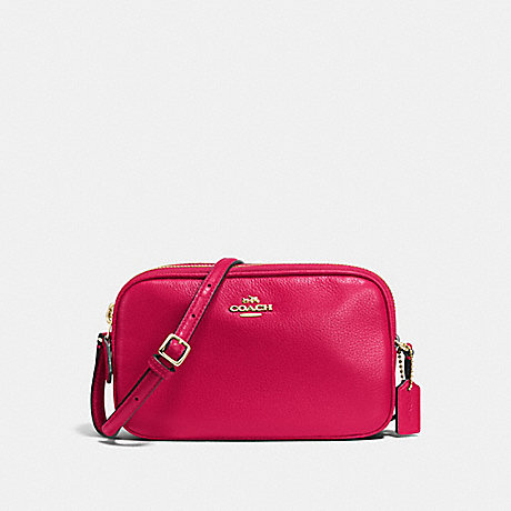 COACH CROSSBODY POUCH IN PEBBLE LEATHER - IMITATION GOLD/BRIGHT PINK - f65988