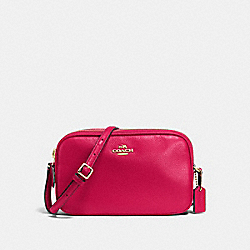 CROSSBODY POUCH IN PEBBLE LEATHER - f65988 - IMITATION GOLD/BRIGHT PINK