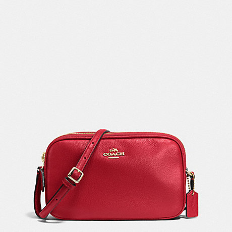 COACH f65988 CROSSBODY POUCH IN PEBBLE LEATHER IMITATION GOLD/TRUE RED