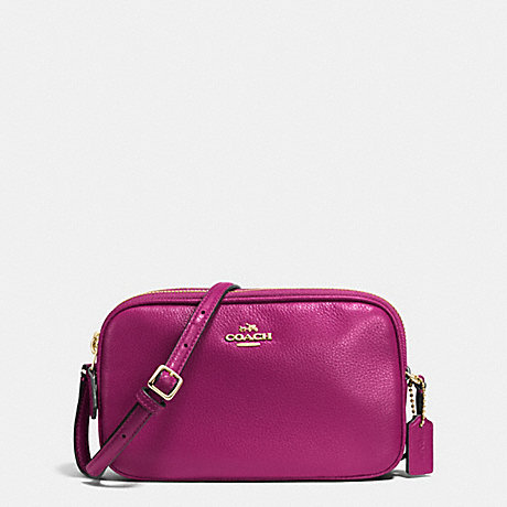 COACH CROSSBODY POUCH IN PEBBLE LEATHER - IMITATION GOLD/FUCHSIA - f65988