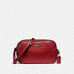 COACH CROSSBODY POUCH - LIGHT GOLD/DARK RED - F65988