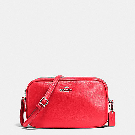 COACH CROSSBODY POUCH IN PEBBLE LEATHER - SILVER/BRIGHT RED - f65988