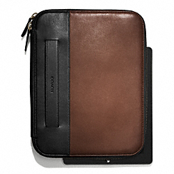 BLEECKER TABLET ORGANIZER IN COLORBLOCK LEATHER - MAHOGANY/BLACK - COACH F65997