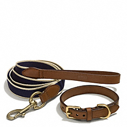 COACH HERITAGE WEB LEATHER DOG LEASH AND COLLAR SET - ONE COLOR - F66034