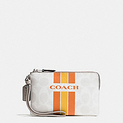 COACH COACH VARSITY STRIPE CORNER ZIP WRISTLET IN SIGNATURE - SILVER/CHALK ORANGE - F66052