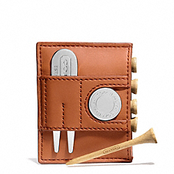 CAMDEN LEATHER GOLF TEE SET - ORANGE - COACH F66076