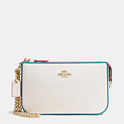 COACH NOLITA WRISTLET 19 IN EDGESTAIN LEATHER - LIGHT GOLD/CHALK MULTI - F66078