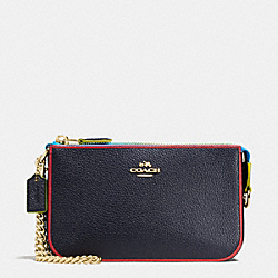 COACH NOLITA WRISTLET 19 IN EDGESTAIN LEATHER - LIGHT GOLD/NAVY MULTI - F66078