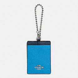 COACH ID HOLDER IN COLORBLOCK LEATHER - SILVER/AZURE/NAVY - F66091