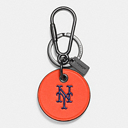 COACH MLB ROUND LOGO KEY RING - NY METS - F66094