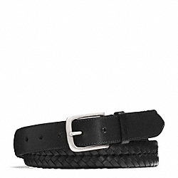 COACH HERITAGE BRAIDED LEATHER BELT - SILVER/BLACK - F66104