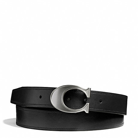 COACH LOGO C BUCKLE SMOOTH LEATHER CUT TO SIZE REVERSIBLE BELT - SILVER/BLACK/MAHOGANY - f66108