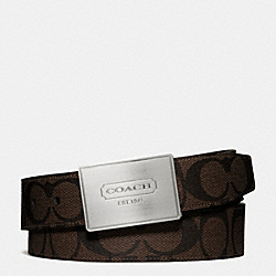 COACH LOZENGE PLAQUE COACH HERITAGE STRIPE CUT TO SIZE REVERSIBLE BELT - BROWN/MAHOGANY - F66111