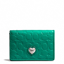 COACH EMBOSSED LIQUID GLOSS BUSINESS CARD CASE - SILVER/BRIGHT JADE - F66113