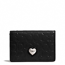 EMBOSSED LIQUID GLOSS BUSINESS CARD CASE - SILVER/BLACK - COACH F66113