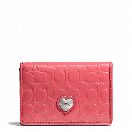Coach f66113 embossed liquid gloss business card case for Business card holder coach