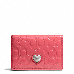 COACH EMBOSSED LIQUID GLOSS BUSINESS CARD CASE - SILVER/CORAL - F66113