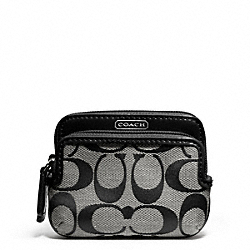 COACH PARK SIGNATURE DOUBLE ZIP COIN WALLET - SILVER/BLACK/WHITE/BLACK - F66116