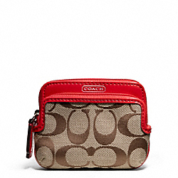 COACH PARK SIGNATURE DOUBLE ZIP COIN WALLET - SILVER/KHAKI/VERMILLION - F66116