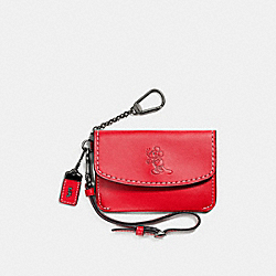 COACH MICKEY ENVELOPE KEY POUCH IN GLOVETANNED LEATHER - DARK GUNMETAL/1941 RED - F66146