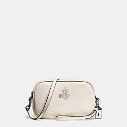 MICKEY CROSSBODY CLUTCH IN GLOVETANNED LEATHER - f66150 - DARK GUNMETAL/CHALK