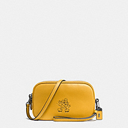 MICKEY CROSSBODY CLUTCH IN GLOVETANNED LEATHER - DARK GUNMETAL/FLAX - COACH F66150