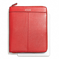 PARK LEATHER ZIP IPAD CASE - f66157 - SILVER/VERMILLION