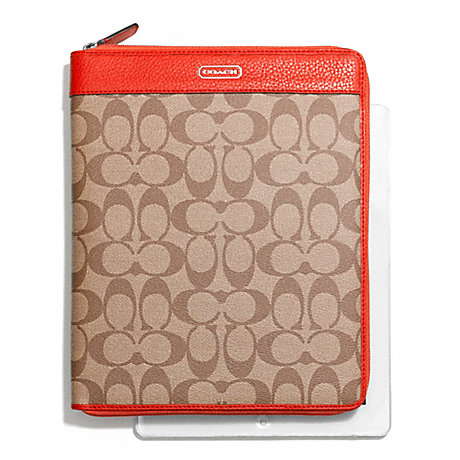 COACH PARK SIGNATURE PVC ZIP IPAD CASE - SILVER/KHAKI/VERMILLION - f66161