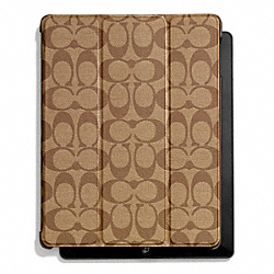 COACH HERITAGE STRIPE MOLDED IPAD CASE - SILVER/KHAKI/BROWN - F66167