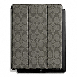 COACH HERITAGE STRIPE MOLDED IPAD CASE - SILVER/GREY/CHARCOAL - F66167