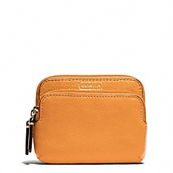 COACH PARK LEATHER DOUBLE ZIP COIN WALLET - ONE COLOR - F66179