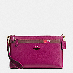 WRISTLET WITH POP UP POUCH IN FIELD FLORA PRINT COATED CANVAS - f66182 - IMITATION GOLD/FUCHSIA MULTI