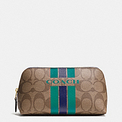 COACH VARSITY STRIPE COSMETIC CASE 17 IN SIGNATURE - IMITATION GOLD/KHAKI/MIDNIGHT - COACH F66193