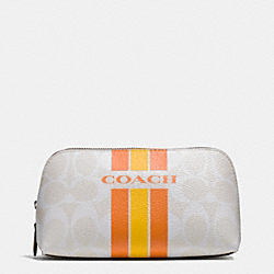 COACH COACH VARSITY STRIPE COSMETIC CASE 17 IN SIGNATURE - SILVER/CHALK ORANGE - F66193