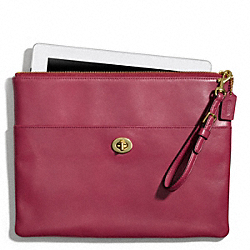 COACH LEATHER IPAD CLUTCH - ONE COLOR - F66203