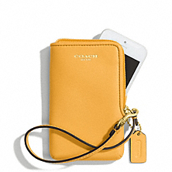 COACH LEATHER NORTH/SOUTH UNIVERSAL CASE - BRASS/MUSTARD - F66213