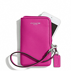 COACH LEATHER NORTH/SOUTH UNIVERSAL CASE - SILVER/BRIGHT MAGENTA - F66213
