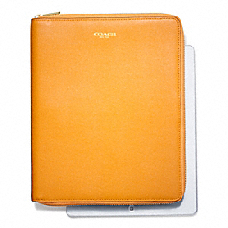 COACH SAFFIANO LEATHER  ZIP AROUND IPAD CASE - BRASS/MARIGOLD - F66262