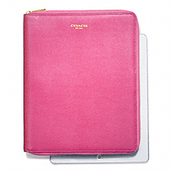 COACH SAFFIANO LEATHER  ZIP AROUND IPAD CASE - BRASS/PINK - F66262
