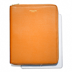 SAFFIANO LEATHER  ZIP AROUND IPAD CASE - LIGHT GOLD/BRIGHT MANDARIN - COACH F66262