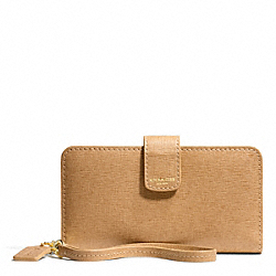 COACH SAFFIANO LEATHER PHONE WALLET - BRASS/TOFFEE - F66265